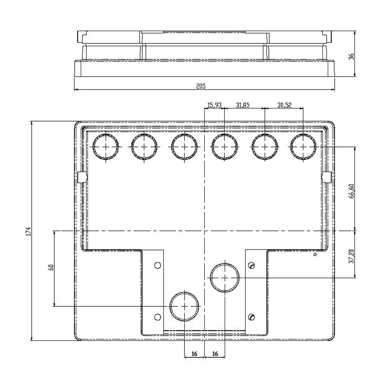 Desenho Técnico Tampa VOLKS FREE SELADA COM ACESSO